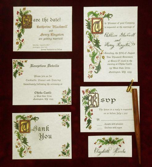 Hand Illuminated Wedding Invitation suite calligraphed and designed using Gold ink.