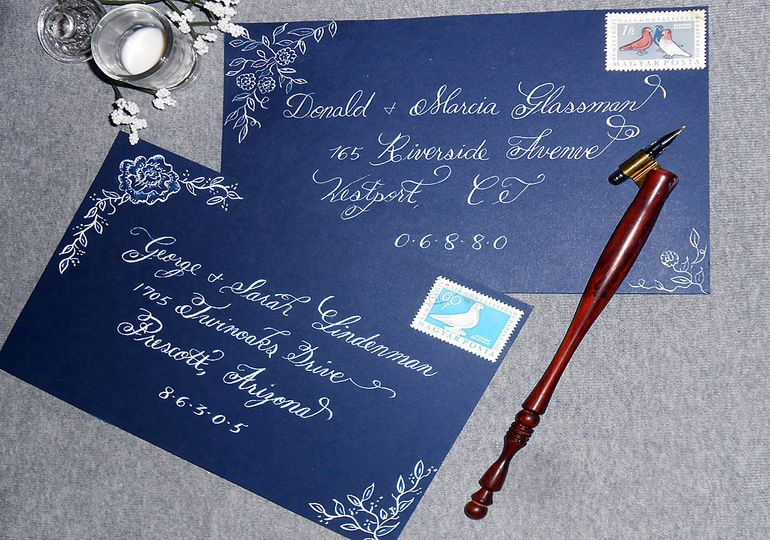 Calligraphy addressed Blue Envelope with Roses and Leaves design using dip nib and White ink.