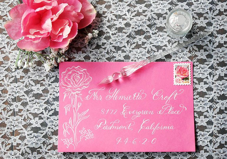 Calligraphy addressed Pink Envelope with Peony design using dip nib and White ink.