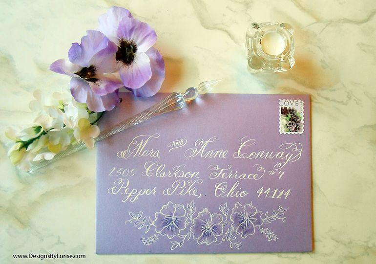 envelope lavender calligraphy pansies 51 969532