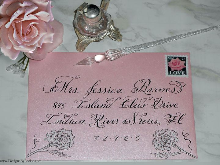 Tmx Envelope Addressing Calligraphy Pink Logo 51 969532 V1 Catskill, New York wedding invitation