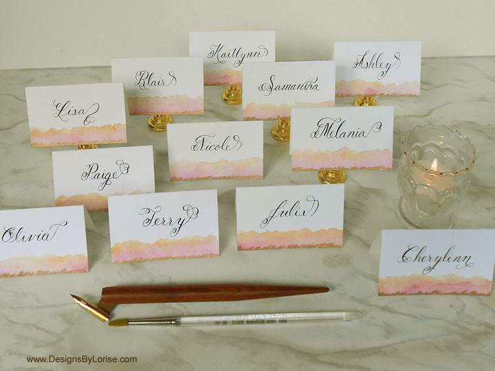 Tmx Pink Peach Gold Calligraphy Place Cards 51 969532 Catskill, New York wedding invitation