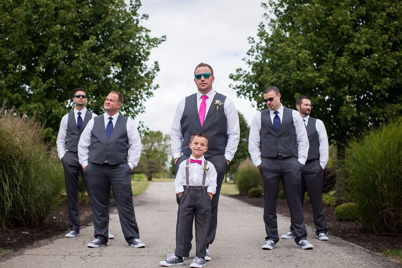 The groomsmen all looking too cool.