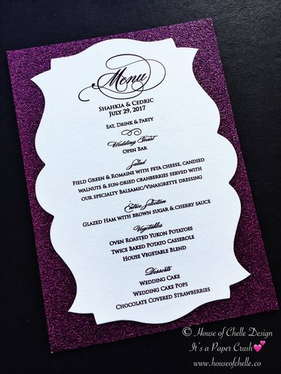 Glitter Wedding Menu