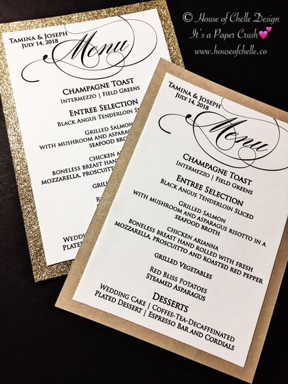 Glitter | Shimmer Wedding Menu