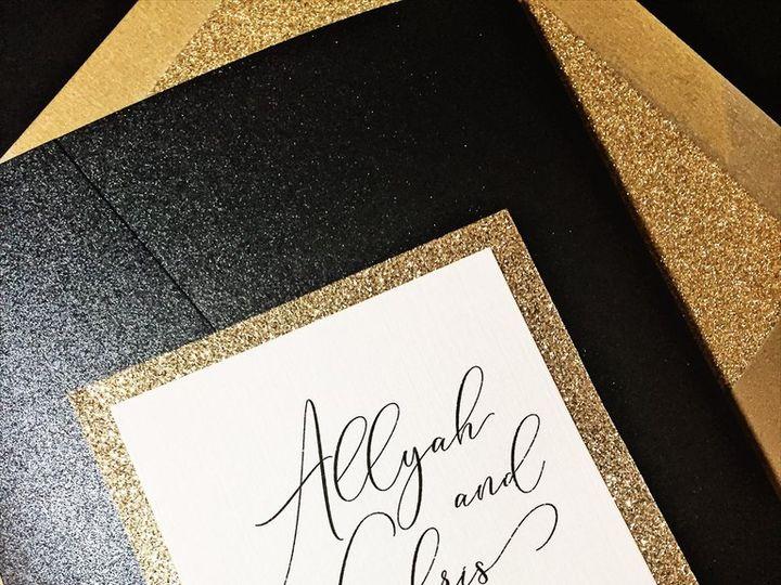 Tmx Black And Gold Glitter Wedding Invitation Allyah 3 51 430632 Arlington, District Of Columbia wedding invitation
