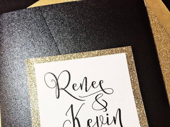 Tmx Black And Gold Glitter Wedding Invitation Renee 3 51 430632 Arlington, District Of Columbia wedding invitation