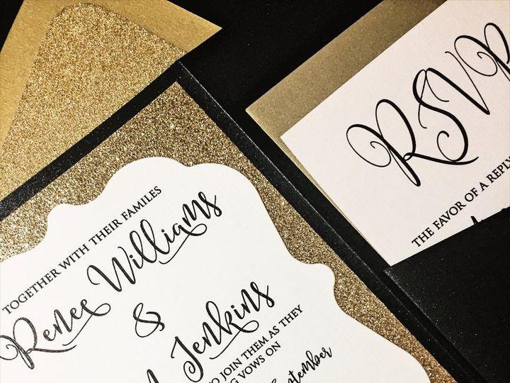 Tmx Black And Gold Glitter Wedding Invitation Renee 51 430632 Arlington, District Of Columbia wedding invitation