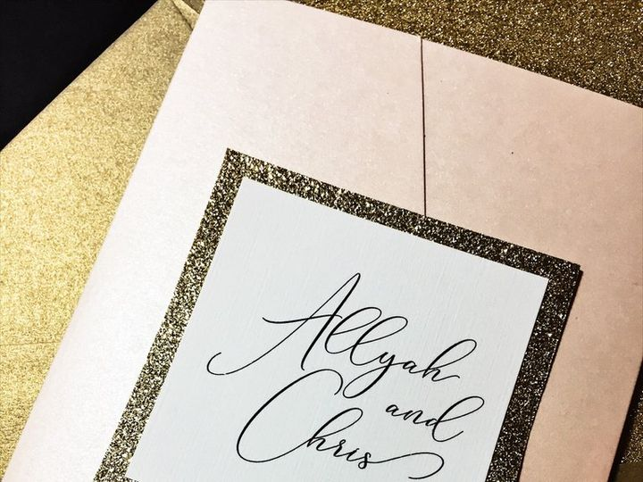 Tmx Blush And Gold Glitter Wedding Invitation Allyah Blush 3 51 430632 Arlington, District Of Columbia wedding invitation