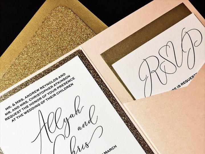 Tmx Blush And Gold Glitter Wedding Invitation Allyah Blush 51 430632 Arlington, District Of Columbia wedding invitation