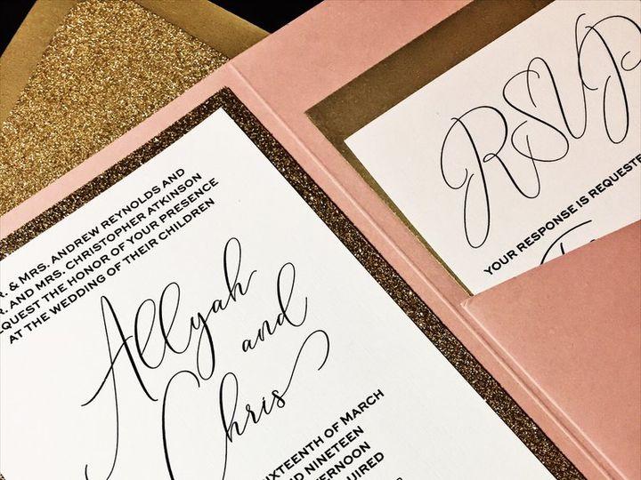 Tmx Blush And Gold Glitter Wedding Invitation Allyah Cip 51 430632 Arlington, District Of Columbia wedding invitation