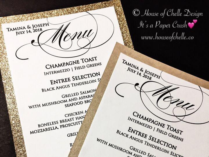 Tmx Glitter Wedding Menu 2 51 430632 Arlington, District Of Columbia wedding invitation