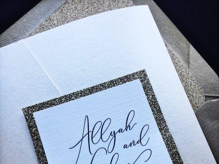Tmx Ivory And Gold Glitter Wedding Invitation Allyah 3 51 430632 Arlington, District Of Columbia wedding invitation