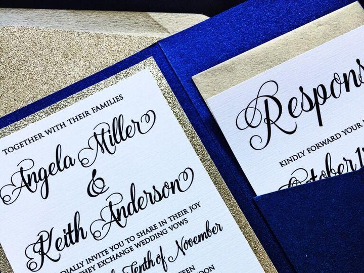 Tmx Navy And Gold Glitter Wedding Invitation Pocketfold Angela 51 430632 Arlington, District Of Columbia wedding invitation