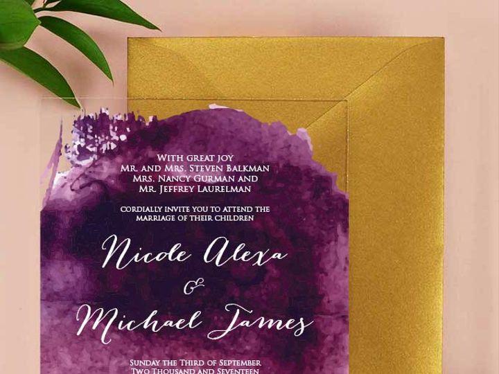 Tmx Nicole Acrylic Invitation Purple And White 51 430632 Arlington, District Of Columbia wedding invitation
