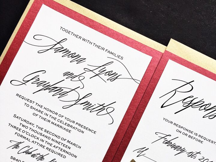 Tmx Red And Gold Wedding Invitations Samona Version 3 51 430632 Arlington, District Of Columbia wedding invitation