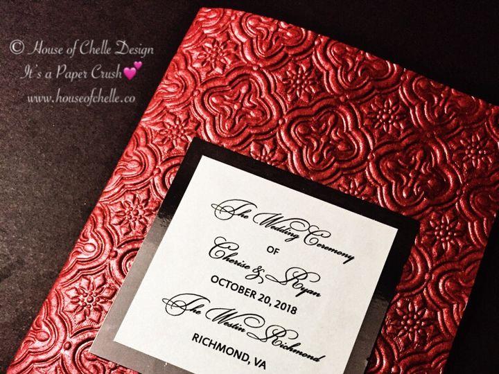 Tmx Red Handmade Paper Embossed Wedding Program With Foil Tag 2 51 430632 Arlington, District Of Columbia wedding invitation