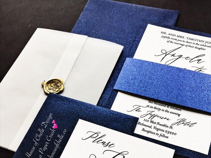 Tmx Vellum Wedding Invitation Angela Navy Blue With Gold Wax Seal 2 51 430632 1557888900 Arlington, District Of Columbia wedding invitation