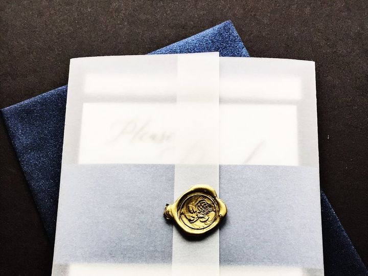 Tmx Vellum Wedding Invitation Angela Navy Blue With Gold Wax Seal 3 51 430632 1557888902 Arlington, District Of Columbia wedding invitation