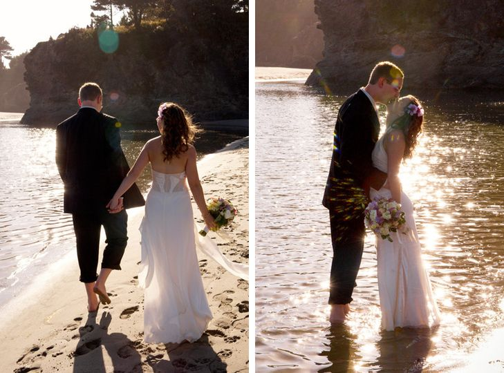 A small, sun-drenched elopement-style wedding on the beach in Mendocino, California.