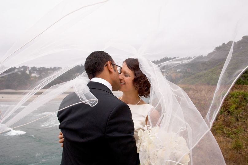 A romantic bridal session on the headlands overlooking the village of Mendocino, California.