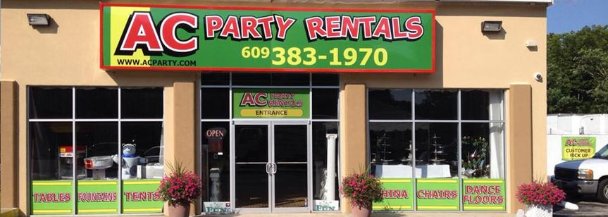 store front of ac party rentals