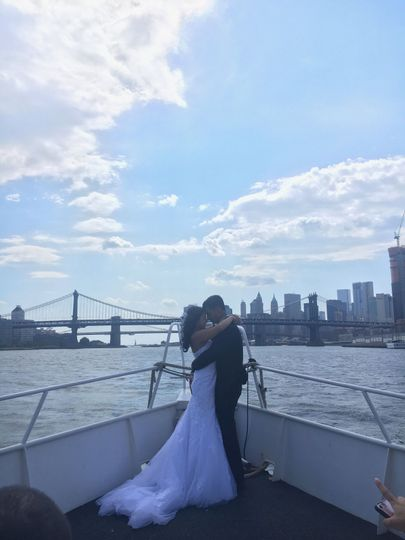 Newlyweds aboard the Harbor Lights by Empire Cruises