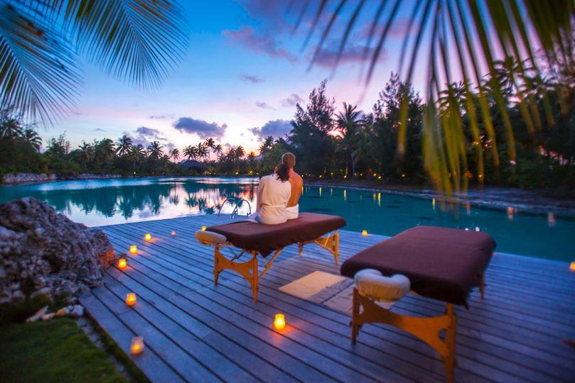 St Regis Bora Bora spa sunset