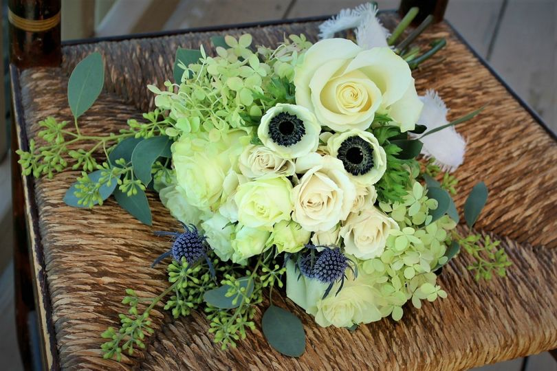 white thistle anemone bridal bouquet 2
