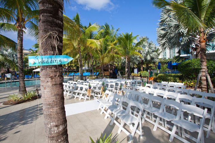 Poolside wedding ceremony setup