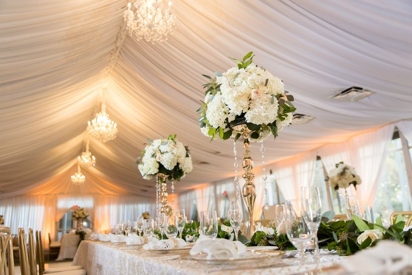 Reception with floral centerpieces