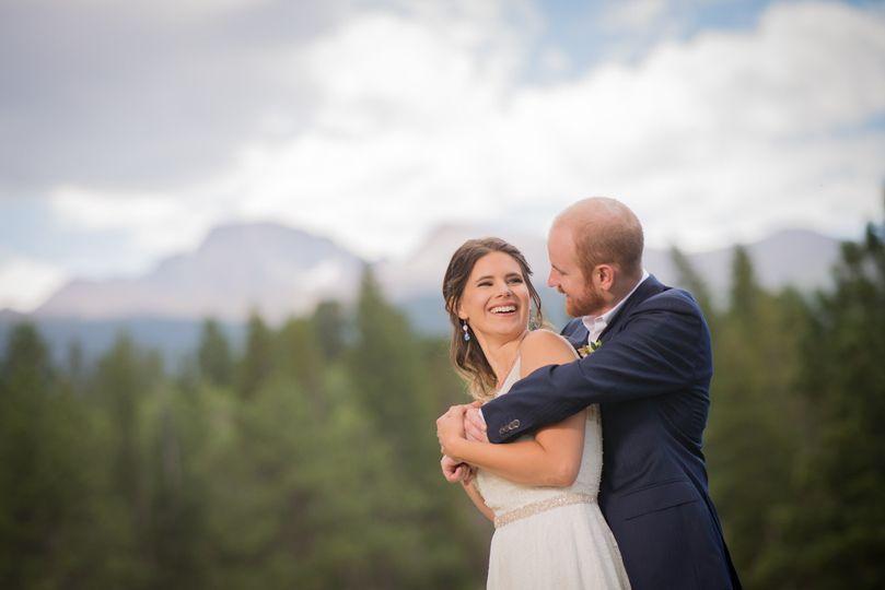 ymca of the rockies wedding playful couple