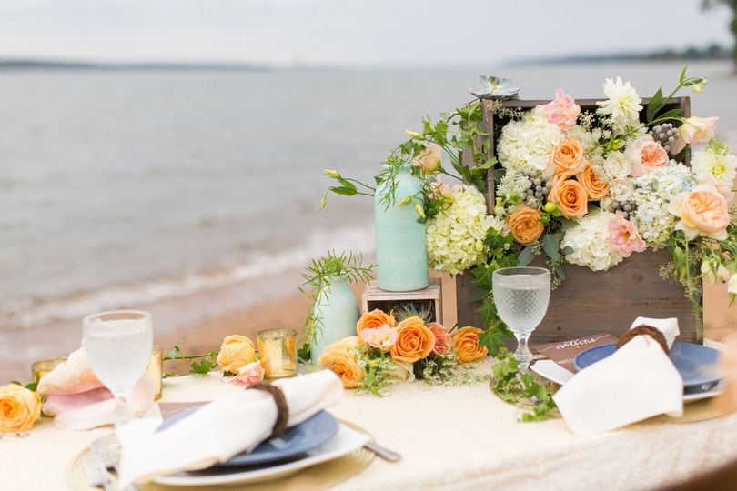 Beach table setup
