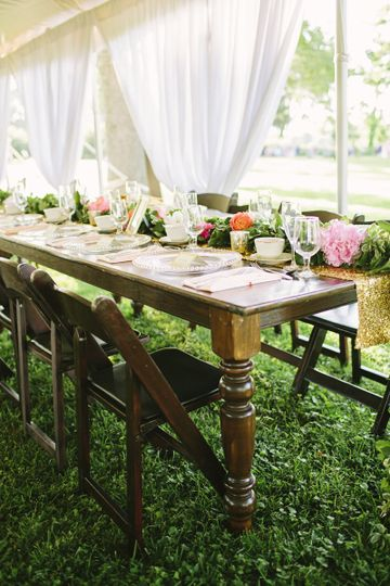 Table setup outdoors