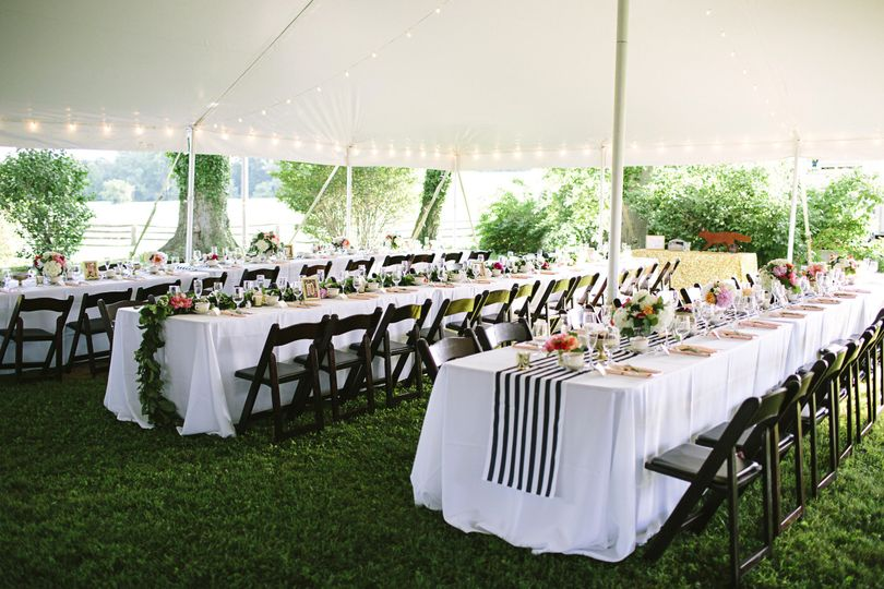 Wedding reception tent setup