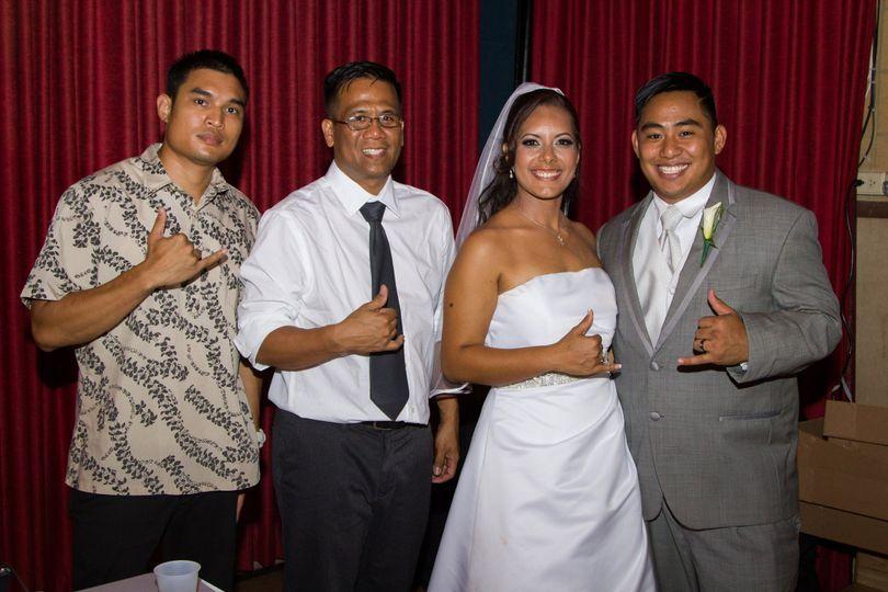 DJ Kurious and Team Bride Team Groom Hawaii along with the bride and groom
