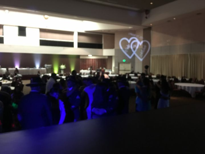 Monograms and uplighting are great for weddings.