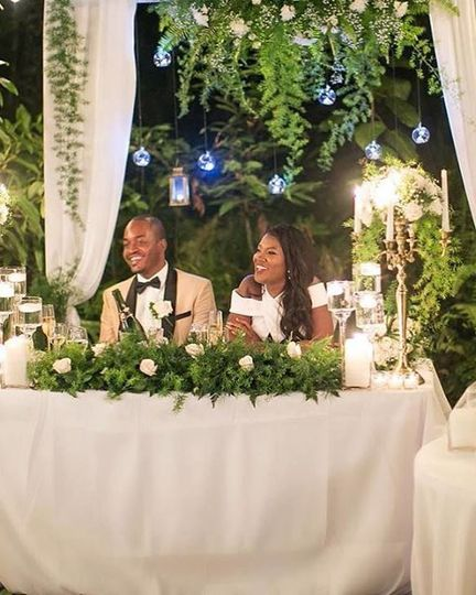 Newlyweds' reception table