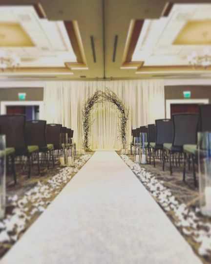 Wedding aisle and floral decor