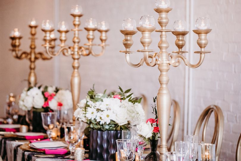 Head table setup with candelabra