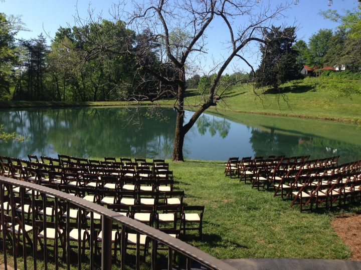 Wedding setup by the lake