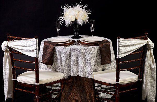 Ivory Lace Overlay, Bark Fortuny Full-Length, Espresso Pintuck Napkins, Ivory Waltz Sashes