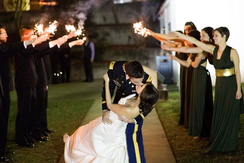 Newlyweds celebrated as they kiss