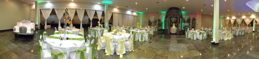 This is our large room.  Seating capacity is 950 with silver platinum finished floors, LEDs...