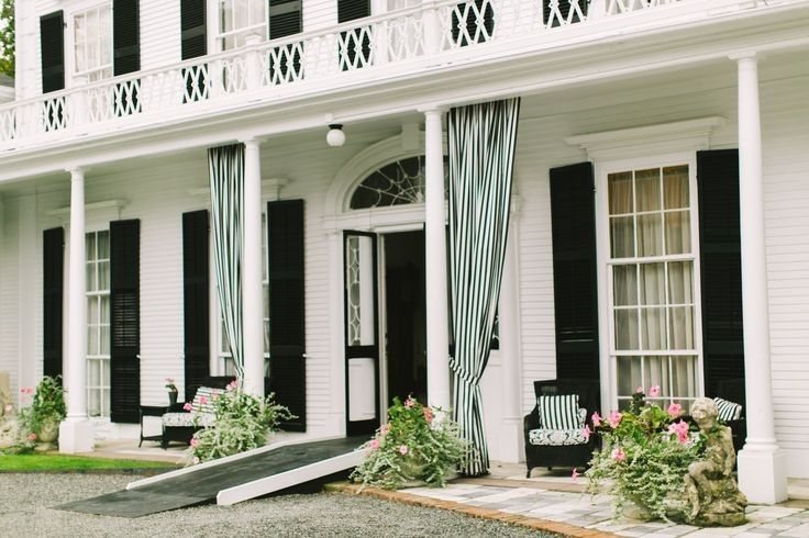 Long stripe curtain at the veranda