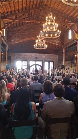 Ceremony for 250 guests at 550 Trackside in Lawrenceville, Ga.