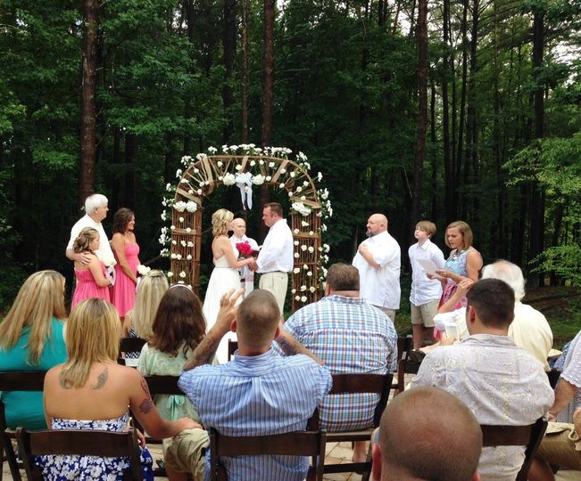 Ceremony by the lake.