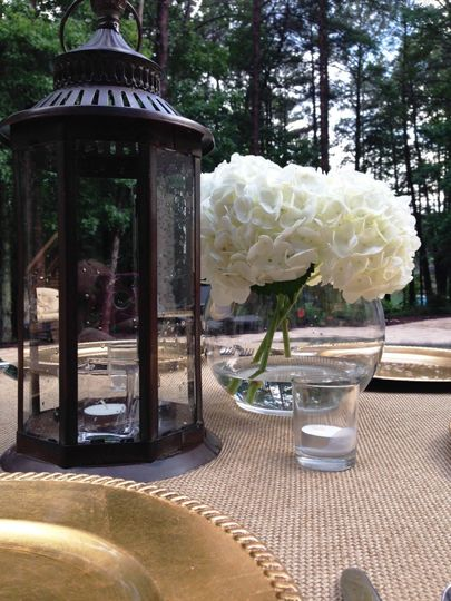 Table setting by the lake.