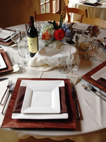 An elegant and classy place setting at Callanwolde Fine Arts Center in the Retreat House.
