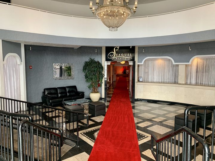 Lobby with two red carpets